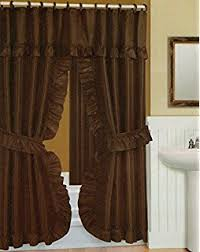 Shower Curtain And Valance Amazon Com Double Swag Fabric Shower Curtain And Vinyl Shower