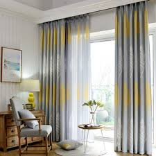 Yellow Gray Curtains Modern Style Gray Chenille Print Plaid Curtains For Bedroom Or