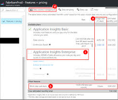 manage pricing and data volume for azure application insights