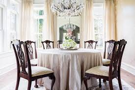 Pink Chandelier Burleson Rosenheck Round Silk Tablecloth Dining Table With Chippendale Chairs