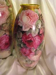 Antique Hand Painted Vases Gorgeous Large 15