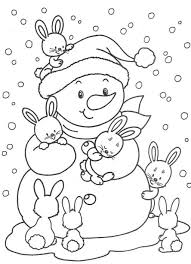 cute bunnies and snowman free winter coloring pages winter