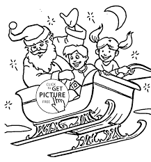 claus with happy kids coloring pages for kids printable free
