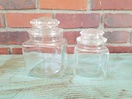 clear glass canister set vintage canisters square canisters