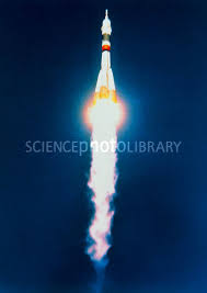 launch of soyuz tm 18 mission to mir space station stock image