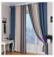 Blue Green Curtains Summer Style Linen Curtains For Living Room Blackout Curtain White
