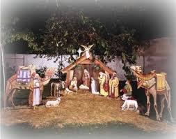 outdoor nativity set christmas preparation
