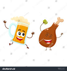 cartoon beer no background funny beer mug fried chicken leg stock vector 702198295 shutterstock