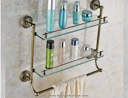 Glass Bathroom Shelf With Towel Bar Antique Brass Bathroom Glass Shelf Wall Mount Bath Toiletries