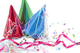 party hats still of party hats streamers and confetti 9027 stockarch