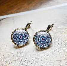 stud earrings online fashion women jewelry mandala earrings om symbol buddhism vintage