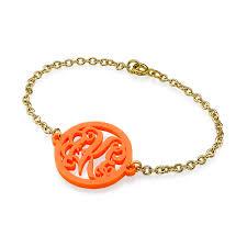 monogram bracelet gold acrylic monogram bracelet with gold plated chain mynamenecklace