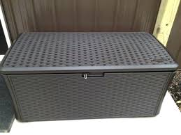 suncast deck storage box gal resin wicker deck box a suncast 73