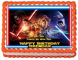 wars edible cake toppers wars awakens personalized edible cake topper image 1