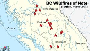 map of bc notable wildfires in columbia ctv
