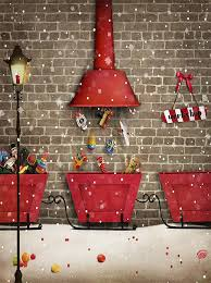 Christmas Photo Backdrops Santa Workshop Toys Christmas Sled Printed Backdrop 6356