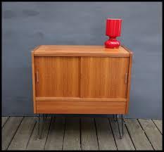 mid century teak media unit tv stand cabinet record storage on