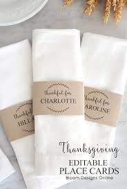 Placecards Editable Thanksgiving Place Cards Bloom Designs