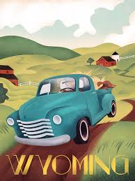 Wyoming travel posters images Vintage truck travel poster wyoming martin wickstrom come see jpg