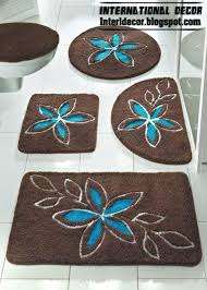 Turquoise Bathroom Accessories by Brown Bathroom Carpet With Turquoise Flower Brown Baths Rug