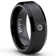 mens black wedding rings black cobalt ring men s wedding band with 0 04 real black diamond
