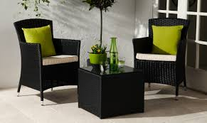Patio Coffee Table Set Modern Two Black Rattan Furniture Set Wih Two Armchairs And Small