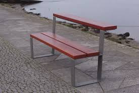 public bench contemporary wooden steel convertible table
