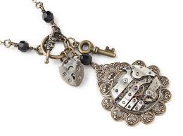 antique silver key necklace images Steampunk necklace antique silver watch movement gold filigree jpg