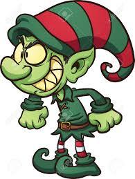 evil christmas elf vector clip art illustration with simple