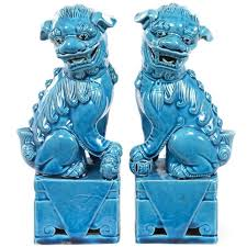 blue foo dogs pair of turquoise glazed porcelain foo dogs at 1stdibs