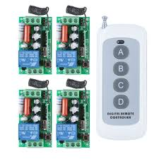 wireless remote control light switch rf ac 220v 1000w one 4 buttons transmitter 4x 1 channel relays smart