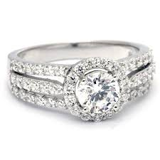 stone bands rings images Three band brilliant cut cz diamond wedding ring for women jpg