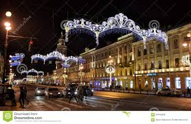 nevsky prospect in the new year decorations editorial photo