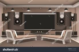 modern home theater interior audio video stock vector 711542593