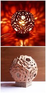 geometric cardboard lamp lamp light upcycle and lights