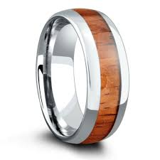 wooden wedding bands 8mm wood wedding band crafted out of tungsten koa wood northernroyal