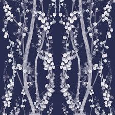 modern floral wallpaper shop tempaper single rolls mystery blue vinyl floral wallpaper at