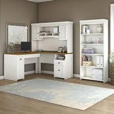White Desk With Hutch Beachcrest Home Oakridge L Shaped Computer Desk With Hutch