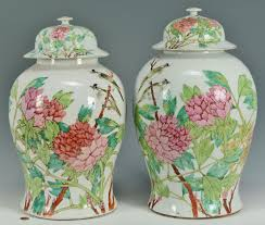 Ginger Jar Vase Lot 14 Pr Of Large Chinese Famille Rose Ginger Jars