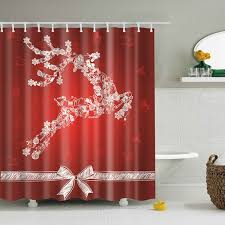 Shower Curtains With Red Red S Christmas Decor Bathroom Screen Fabric Shower Curtain