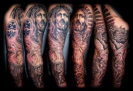 great designed and detailed jesus tattoo on leg tattoos photos