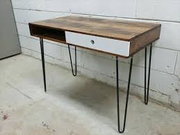 Diy Metal Desk Desk Finished Wood Desk On Metal Ikea Legs Desk Wood Rustic