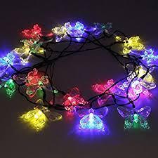 aleko butterfly solar string lights 20 led light