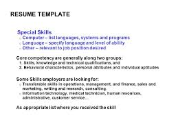 Transferable Skills Examples Resume by Special Skills Resume List Free Resume Example And Writing Download