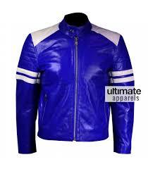 blue motorcycle jacket men blue leather motorcycle jacket with white stripes
