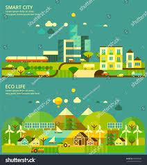 Conceptmodern Ecology Concept Modern City Ecology Village Stock Vector 629025608