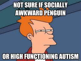 Meme Socially Awkward Penguin - not sure if socially awkward penguin or high functioning autism