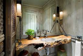 reclaimed log wood top for floating sink with wall mirror ornament