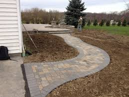 Tuscany Pavers San Diego by Paver Walkway Leading To A Large Raised Patio With A Sunken Fire