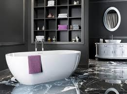 Gray Floor Bathroom - modern bathroom color schemes gray with glass shower room near
